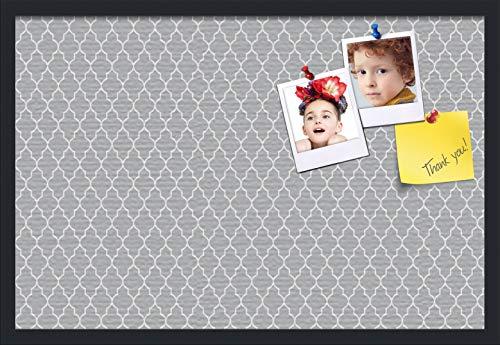 PinPix ArtToFrames 30x20 Custom Cork Bulletin Board. This Quatrefoil Grey Pin Board Has a Fabric Style Canvas Finish, Framed in Satin Black (PinPix-284-30x20_FRBW26079)