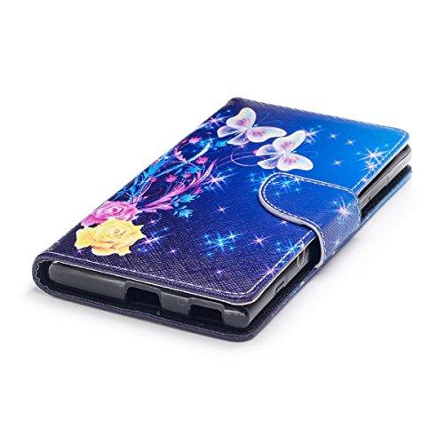 Sony Xperia XA1 Plus Funda, Funda de Cuero PU para Sony Xperia XA1 Plus, Árbol floral Patrón Carcasa Cartera Flip de Piel PU Libro Billetera con Función de Soporte y Ranuras de Tarjeta para Sony Xperi Mariposa y flor