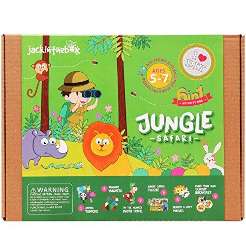 jackinthebox Art Craft Felt Kit Kids - Jungle Safari DIY Fun Crafts Children Ages 5-7, Girls Boys Learning Stem Toys (6-in-1)