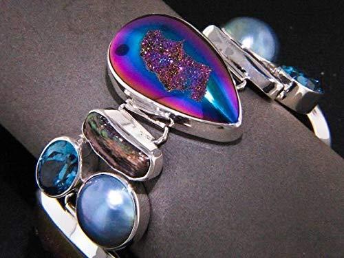 7-8'' Rainbow Titanium DRUZY Blue MABE Pearl Topaz 925 Sterling Silver Bracelet YE-1267