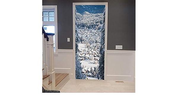Etiqueta De La Puerta 3D,Quote Wall Sticker Localidad Alpina Escena De Nieve Pegatina Puerta Estanca De Pvc Adhesivos Arte Del Paisaje Natural En El Aula Salón Dormitorio Decoración,70X200Cm.: Amazon.es: Hogar