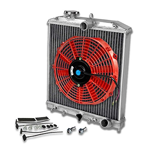 For Civic/Del Sol/Integra 2-Row Dual Core 42mm Racing Radiator+12 inches Red Fan+Mounting Kit