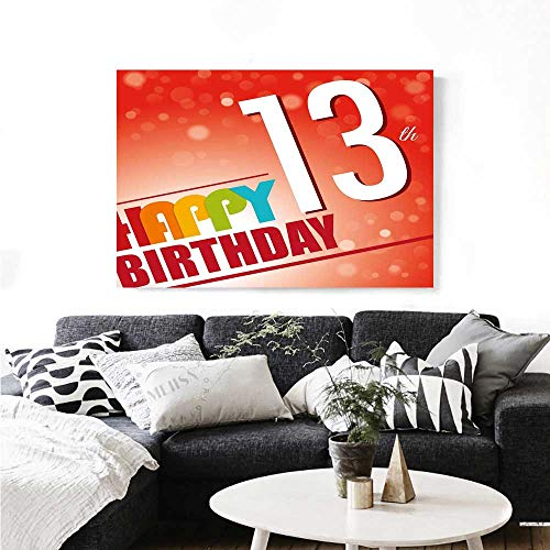 - 13th Birthday Wall Art Canvas Prints Retro Style Teenage Party Invitation Graphic Design with Bokeh Effect Rays Ready to Hang for Home Decorations Wall Decor 24