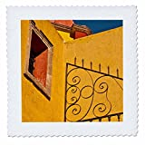 3dRose Danita Delimont - Architecture - Mexico, Guanajuato. Wrought iron fence against a yellow church. - 18x18 inch quilt square (qs_258502_7)