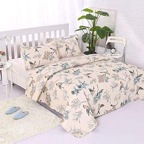 Tagesdecke Bettüberwurf Bettdecke Kissenbezug Gesteppt 230x250 cm Hellen 3 tlg