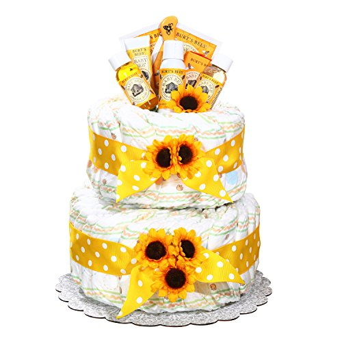 Gender Neutral Burt's Bees Newborn Baby Diaper Cake Gift by Gifts to Impress