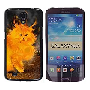 TopCaseStore / la caja del caucho duro de la cubierta de protección de la piel - Fire Cat Painting Heart Yellow Flames - Samsung Galaxy Mega 6.3 I9200 SGH-i527