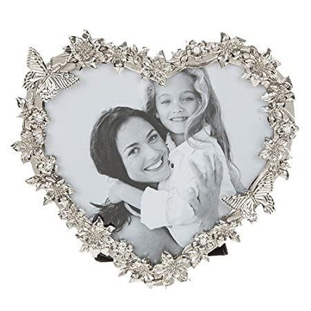 Clematis Butterfly Silver Heart Frame 3x3: Amazon.co.uk: Kitchen & Home