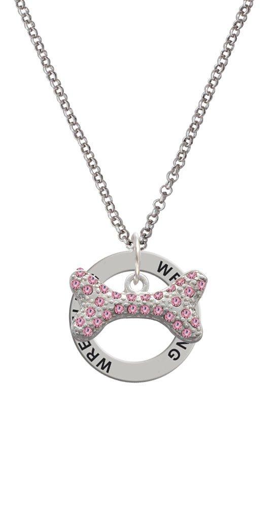 Large Light Pink Crystal Dog Bone - Wrestling Affirmation Ring Necklace