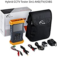 ForTronix 3.5 inch CCTV Tester 3 in 1 for 1080P AHD TVI CVBS Cameras, PTZ Test Cable Test Audio Video Test, Rechargeable Battery, CCTV Security Camera LCD Screen Test Monitor
