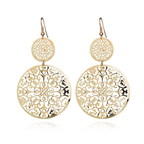 Women Two Tone Gold Plated Flashed Multi Flower Disk Pendants - 14k Gold Filled French Wire Earrings