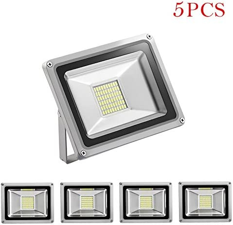 5 Pack 30W FloodLight 12V DC Led Flood Light 2400LM Cold White 6000K Waterproof IP65 Outdoor Light Super Bright Security Lights for Parking Lot Garden Yard Factory Warehouse Square