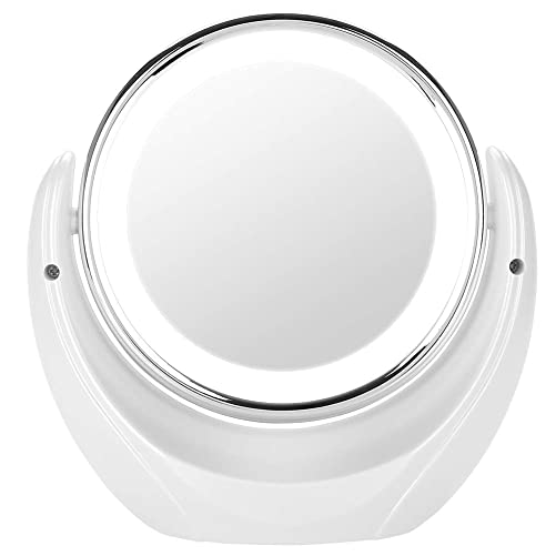 5X Double Sided Mirror, 360 Rotating Round Cosmetic Makeup Vanity Mirror, 20 cm Diameter Table Top Magnification LED Illuminated Cosmetic Mirror for Bathroom
