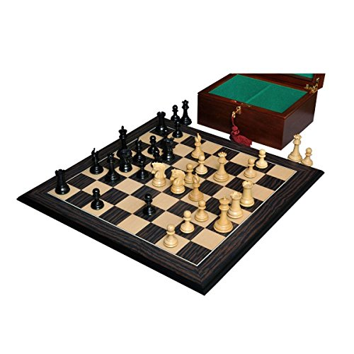 The Library Imperial Collector Series Chess Set, Box, Board Combination - Ebony and Boxwood