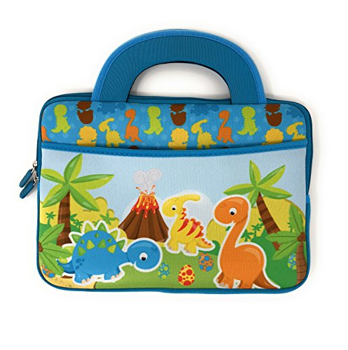 Tablet Carrying Case for Kids will fit Nabi SE Elev-8 DreamTab HD8 Jr. Travel Neoprene Bag Tote Handle Boy Girl Cover Sleeve accessory pocket fits most 10 Inch devices (Baby Dino)