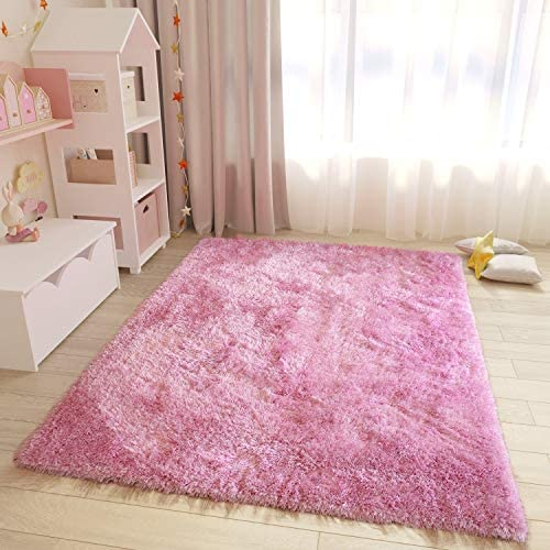 8×10 Feet Size Large Solid Plush Decorative Modern Contemporary Designer Area Rug Carpet Rug Bedroom Living Room Indoor Shag Shaggy Pink Color Canvas Backing Polyester Made Plush Pile Office Space