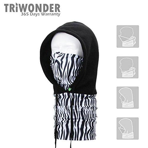 Triwonder 250g Fleece Full Face Cap Hat Neck Warmer Face Mask Balaclava Hat (Black-04)