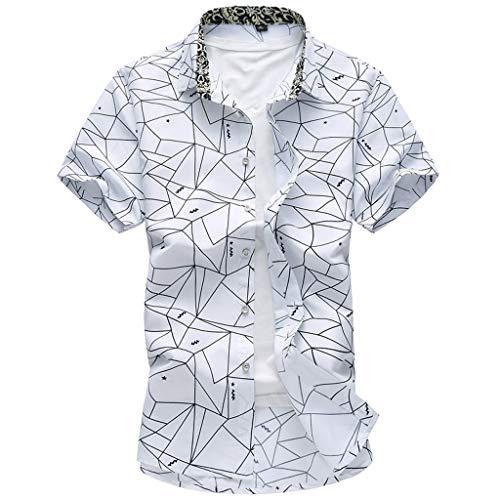 (Shirts Hawaiian Shirt Regular Fit Quick to Dry Summer Fashion Shirts Casual Short Sleeve Beach Tops Loose Casual Blouse Mens (L,White) )