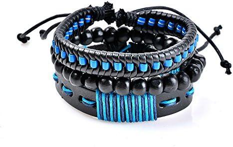 Women Multilayer Bracelets Handmade Wristband Leather Bracelet Beads Adjustable Bangle for Men Friends Gift