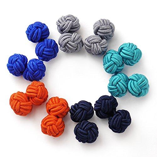 Silk Classic Cufflinks - Honey Bear Silk Knot Cufflinks - 5 Pairs Mens Round Monochrome Set with Gift Case