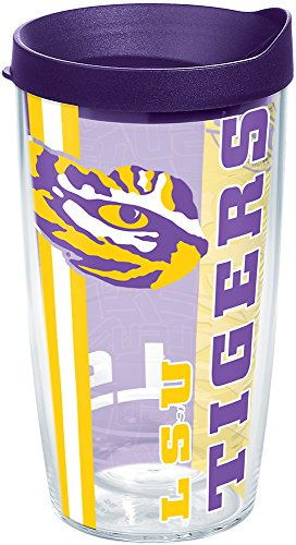 Tervis 1215256 LSU Tigers College Pride Tumbler with Wrap and Royal Purple Lid 16oz, Clear