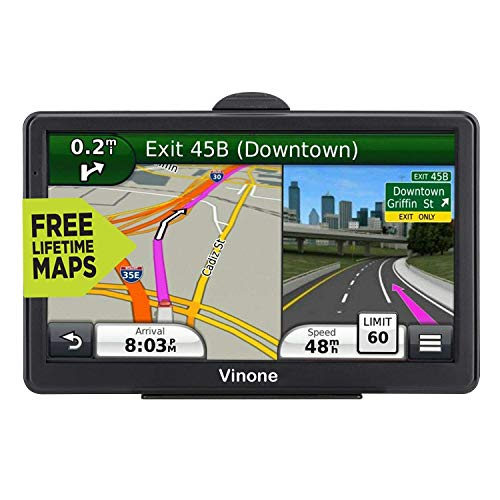 Car GPS Navigation (7 inch/8GB) Vehicle GPS Navigation System with Built-in Lifetime Maps,FM Car Navigation and Spoken Turn-by-Turn Directions (Black)