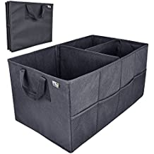 Car Trunk Storage Organizer; MIU COLOR Collapsible Cargo Storage Containers for Car, Truck, SUV; Strap Handle, Black