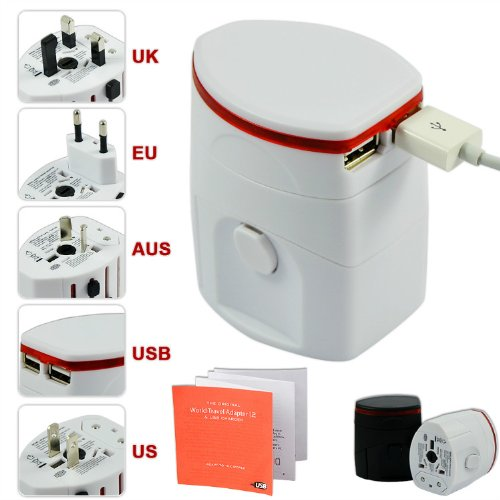 Price comparison product image First2savvv white Luxury Universal Worldwide Travel Power Adaptor and USB Charger - African / European / American / Australian / Holiday Plug Adapter - Covers Over 150 Countries for HP 7 Plus G2 Tablet HP Slate 8 Pro HP Omni 10 Tablet HP Slate 10 HD ARCHOS 80 helium ARCHOS 101 copper