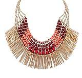 Ethnic Tribal Boho Beads Statement Necklace Fringe Bib Tassel Chunky Orange
