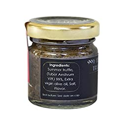 Truffles. Imported Italian black truffle paste. 99% pure truffle. Ideal for creating exquisite gourmet dishes: Pasta, risotto, sauces, gravies, and more. 30 grams. 1.05 Oz.