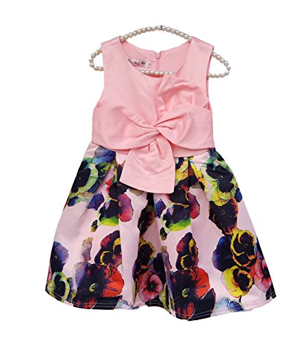 Kidscool Little Girls Sleeveless Flower Print Ball Gown Formal Dress