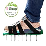 RVZHI Lawn Aerator Shoes with 4 Adjustable Straps and Metal Buckles, Heavy Duty Garden Spikes Sandals Airtor for Grass Yard Airation - Free Size