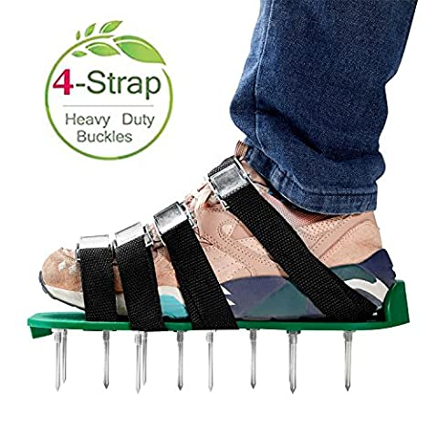 RVZHI Lawn Aerator Shoes with 4 Adjustable Straps and Metal Buckles, Heavy Duty Garden Spikes Sandals Airtor for Grass Yard Airation - Free (4x4 Spike)