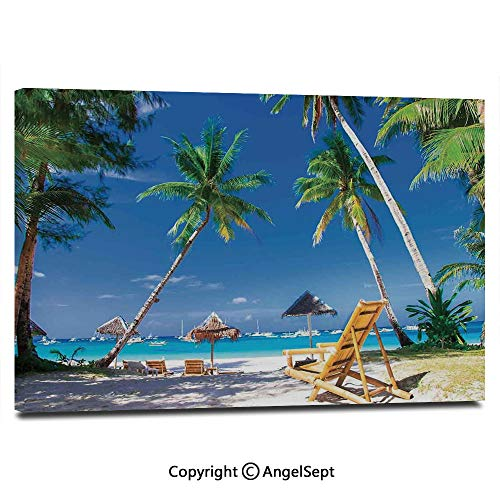 (Modern Salon Theme Mural Sun Bed Under Palm Trees Tropical Oceanside in Boracay Island Image Print Painting Canvas Wall Art for Home Decor 24x36inches, Green Blue and)