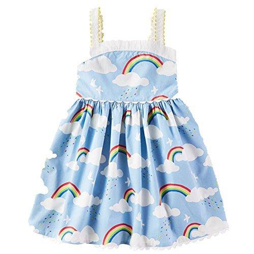 (Frogwill Toddler Girls Fifties Summer Tank Dress Blue Rainbow)