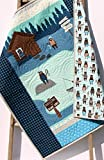 Boy Quilt Modern Baby Bedding Woodland Bears Navy Blue Grey Fishing Lodge Handmade Baby Bedding Crib Blanket