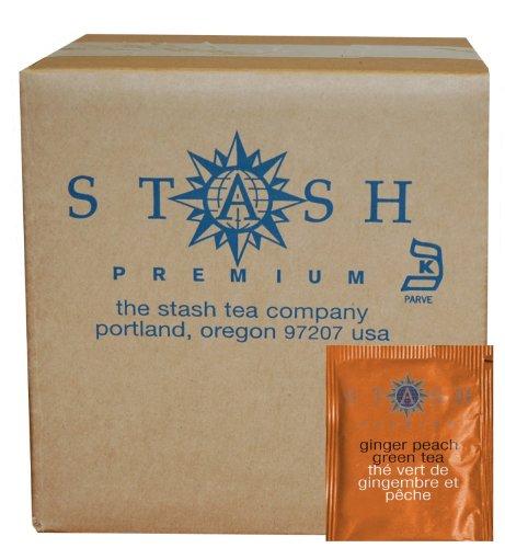 Stash Tea Ginger Peach Green Tea, 100 Count Box of Tea Bags in Foil (packaging may vary) (Peach Green Tea)