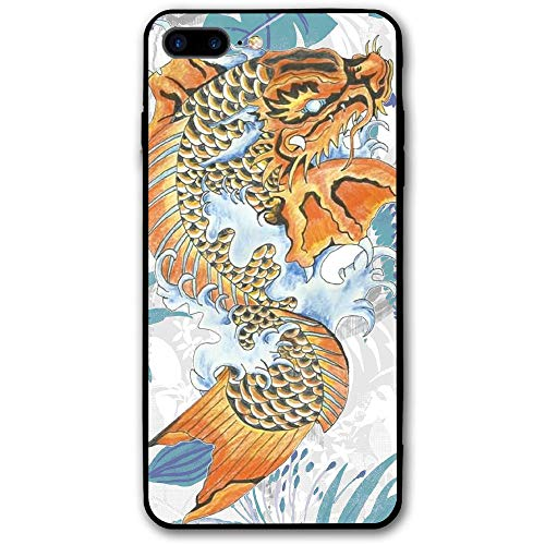 WIALFIG Koi Dragon Tattoo iPhone 8 Plus Case Durable Protective Back Phone Hybrid Drop Proof Shock Absorption Cover ()