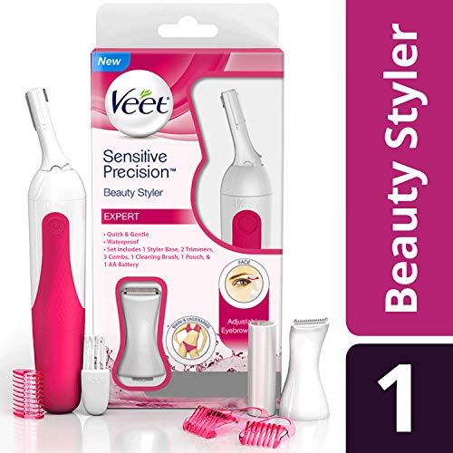 Hair Trimmer, Veet Sensitive Precision Electric Hair Trimmer & Shaper for Eyebrows, Facial Hair, Bikini Line, and Underarm, Bag & Battery Included, Waterproof -All in 1 Hair Removal for Women