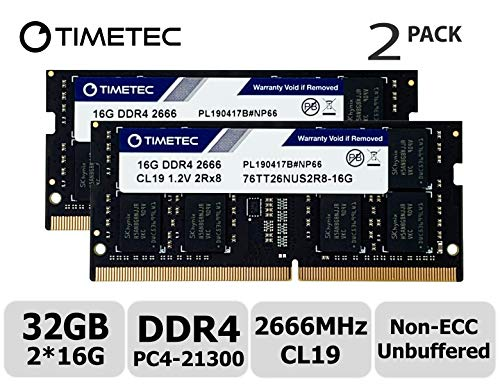 Timetec Hynix IC 32GB Kit (2x16GB) DDR4 2666MHz PC4-21300 Unbuffered Non-ECC 1.2V CL19 2Rx8 Dual Rank 260 Pin SODIMM Laptop Notebook Computer Memory RAM Module Upgrade (32GB Kit (2x16GB)) ()