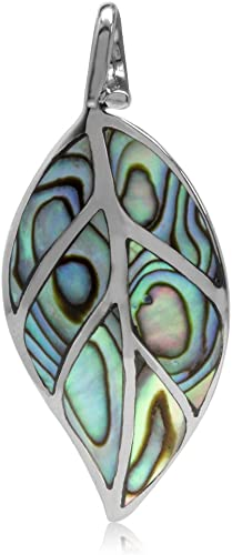 Paua Shell 925 Solid Sterling Silver Teardrop Pendant inlaid with Abalone