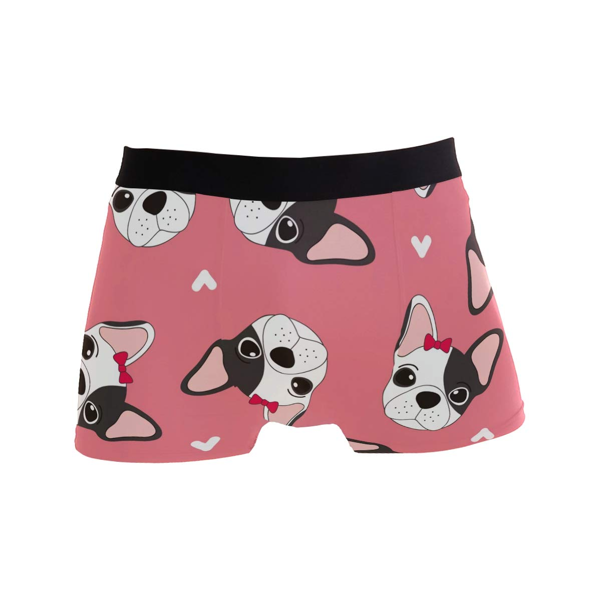 Jereee Pink Girl Puppies Dogs Mens Underwear Soft Polyester Boxer Brief for Men Adult Teen Children