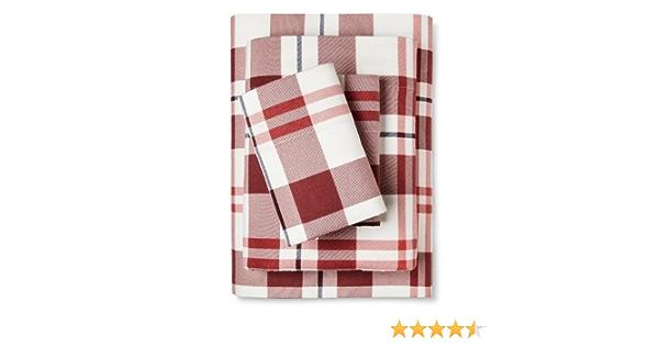 Amazon Com Flannel Sheet Set Red Blue Plaid Queen Home Kitchen