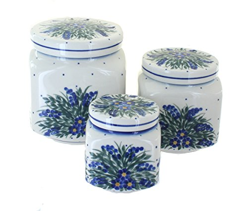 WR Unikat Blue Rose Polish Pottery Hyacinth 3 Piece Canister Set