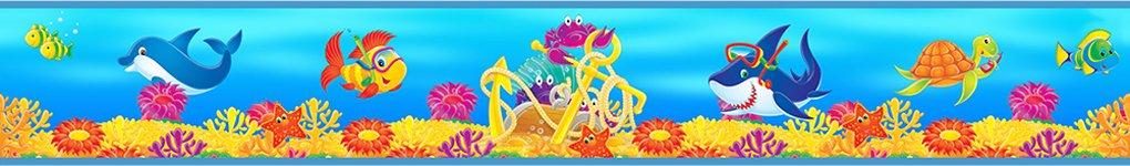 Bordo autoadesivo per bambini, Subacqueo 17MTR. Camera dei bambini decorazione Wall Sticker Tatoo Fototapeten LUXE