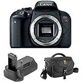 Canon EOS Rebel T7i DSLR Camera (Body Only) with Vello BG-C15 Battery Grip for Canon Rebel and Journey 34 DSLR Shoulder Bag (Black)
