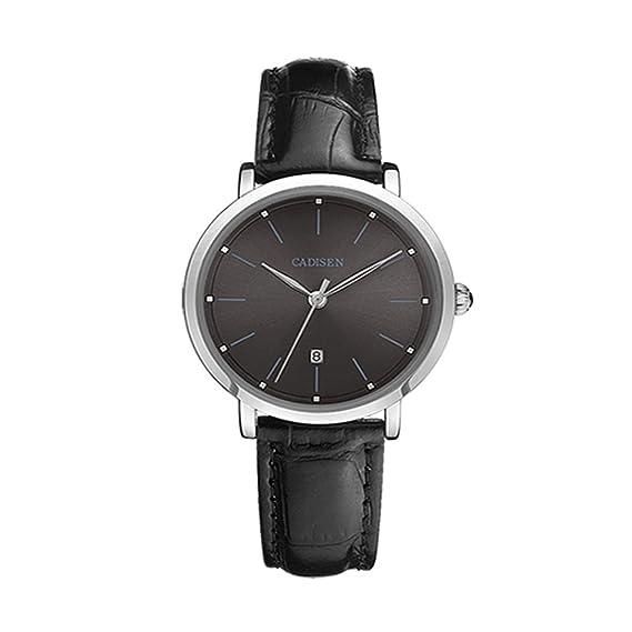 Estilo clásico de los relojes de cuarzo analógicos de las mujeres con Dial Negro Cuero Negro correa de reloj de las señoras: Amazon.es: Relojes
