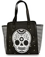 Loungefly Black/White/Gold Stripe With Pyramids Tote Bag
