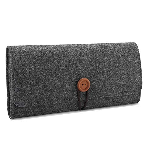 LinkBand Carrying Case for Nintendo Switch, Slim Travel Carry Bag Protective Pouch for Nintendo Switch with 5 Games Memory Card Holders (Dark Grey)