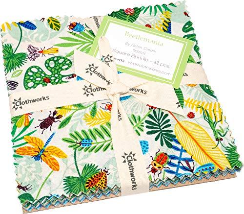 "Helen Dardik Beetlemania 5"" Squares 42 5-inch Squares Charm Pack Clothworks"